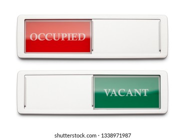 Occupied Vacant Sign Isolated on a White Background.