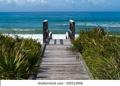 Ocean access boardwalk to Florida Beach, horizontal format.