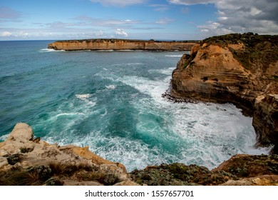 Ocean bay with strong waves. Panoramic view near London Bridge. Crashing waves. Famous stop on the Great Ocean Road. Magnificent landscape. Scenic view. Victoria, Australia