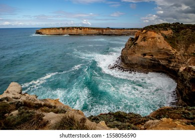 Ocean bay with strong waves. Panoramic view near London Bridge. Crashing waves. Famouse stop on the Great Ocean Road. Scenic view. Magnificent landscape. Victoria, Australia