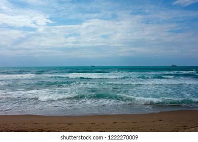 At the ocean beach