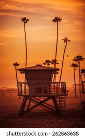 Ocean Beach Lifeguard Tower. Oceanside California Lifeguard Tower and the Beach at Sunset. United States.