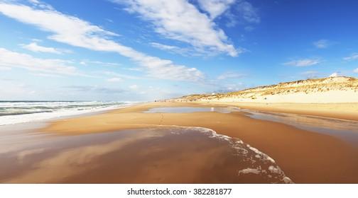 Ocean beach on the Atlantic coast of France near Lacanau-Ocean