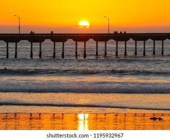 Ocean Beach Pier Golden Hour Sunset