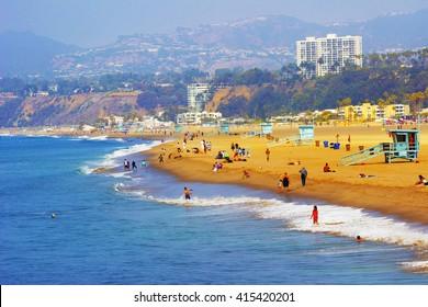 Ocean beach in Santa Monica as seen from Santa Monica Pier
