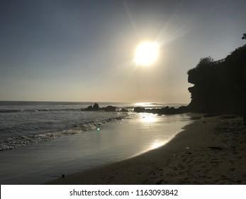 Ocean beach at sunset on Bali island, Indonesia