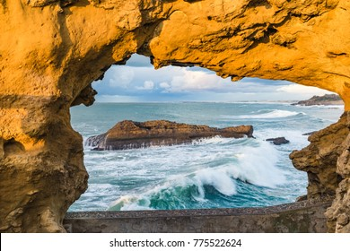 The ocean of Biarritz within a rock as a frame, Basque country of France