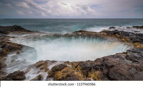 Ocean blowhole splash