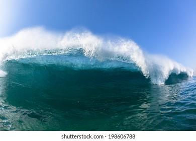 Ocean Blue Waves Swim Water Sea Closeup Vertical Crashing Hollow Tubing