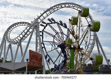 OCEAN CITY, MARYLAND - JUL 1: Trimpers Rides in Ocean City, Maryland, on July 1, 2017. The city It features miles of beach and a wooden boardwalk lined with restaurants, shops and hotels.