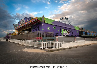 Ocean City, Maryland / United States of America - May 5, 2018: Jolly Roger at the Pier Amusement Park Ocean City Maryland Boardwalk
