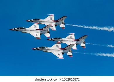 Ocean City, Maryland / USA - Aug 15, 2020: The Thunderbirds perform a photo pass