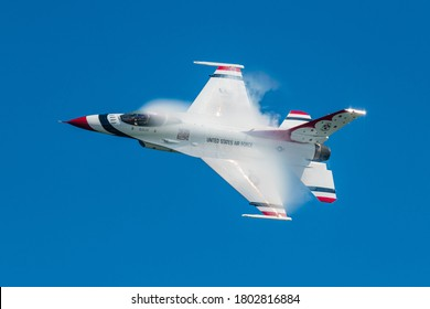 Ocean City, Maryland / USA - Aug 15, 2020: Thunderbird 5 performs a high speed pass