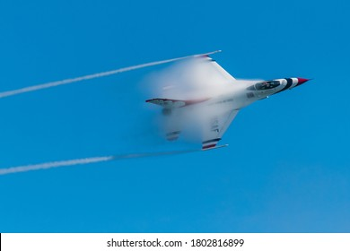 Ocean City, Maryland / USA - Aug 15, 2020: Thunderbird 5 performs a high speed pass
