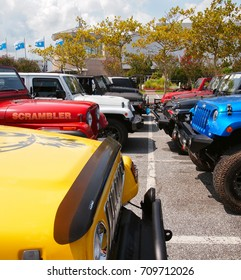OCEAN CITY, MD - AUGUST 26, 2017: Two rows of Jeeps parked grill to grill in the convention center parking lot at Jeep Week in Ocean City, MD.