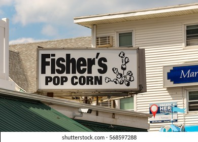 Ocean City, MD - July 10, 2016: The Fishers Popcorn exterior sign identifies this long established snack food business on the Ocean City boardwalk.