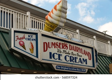 Ocean City, MD - July 10, 2016: The Dumsers Dairyland exterior sign identifies this long established ice cream business on the Ocean City boardwalk.