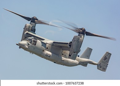 Ocean City, MD / USA - June 18, 2017: The U.S. Marine Corps V-22 Osprey demo during OC Airshow on June 18, 2017 in Ocean City, MD. The V-22 Osprey is the world's first production tiltrotor aircraft.