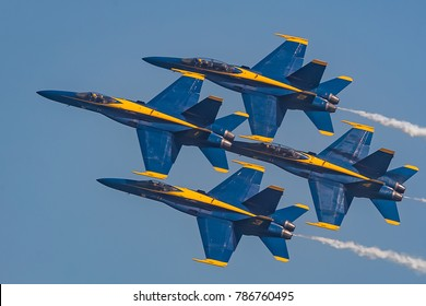 Ocean City, MD / USA - June 18, 2017: US Navy Blue Angels perform air show routine during OC Airshow on June 18, 2017 in Ocean City, MD. Ocean City, MD is a popular beach resorts on the East Coast.