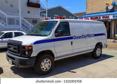 Ocean City, MD, USA - May 26, 2018: An Ocean City Maryland Police Department van parked at the Ocean City boardwalk.