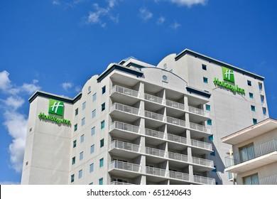OCEAN CITY, MD, USA - MAY 27, 2017: Holiday Inn hotel on the ocean City boardwalk in Maryland.
