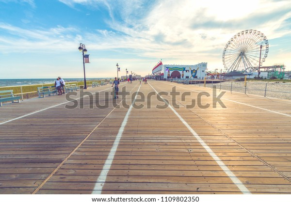 Ocean City, New Jersey/United States - 7-14-2015:  Ocean City Boardwalk during the Summer Season.