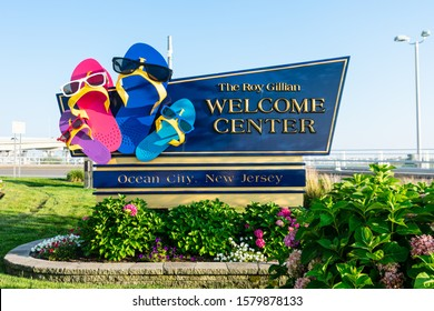 Ocean City, NJ - July 21, 2019: Sign for The Roy Gillian Welcome Center on 9th Street Bridge to Ocean City.