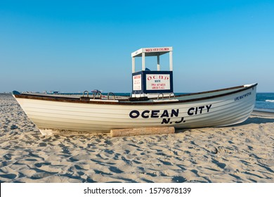 Ocean City, NJ - July 21, 2019: Ocean City Beach Patrol lifeguard stand and lifeboat at dusk