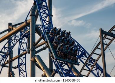 Ocean City, NJ - June 11, 2018: New GaleForce Roller Coaster on Playland Castaway Cove pier in Ocean City