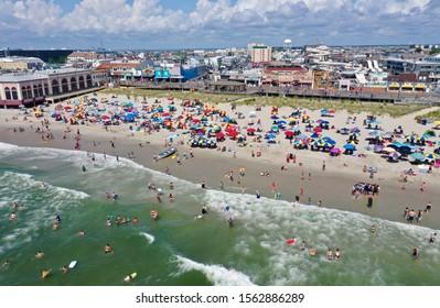 Ocean City N.J/USA/July 26, 2019: Aerial view of a busy weekend in Ocean City , N.J.