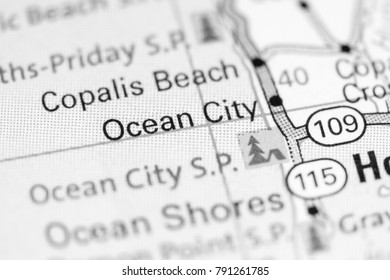 Ocean City. Washington State on a map.