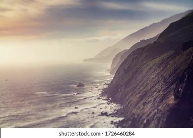 Ocean Cliffs Bluffs During Golden Hour - seascape, sunset