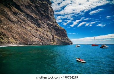 ocean and cliffs at Playa de Masca, at the end of the popular Gorge walk, Tenerife, Canary islands, Spain