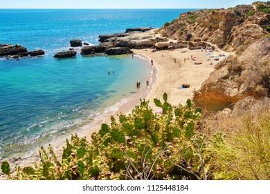 Ocean coast and Aveiros beach (Praia dos Aveiros). Albufeira, Algarve, Portugal