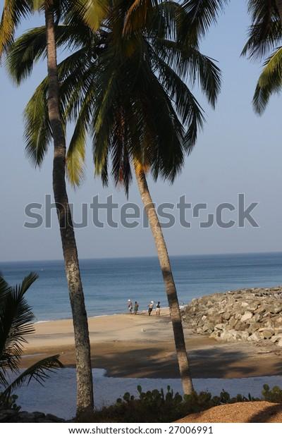 ocean coast with lagoon