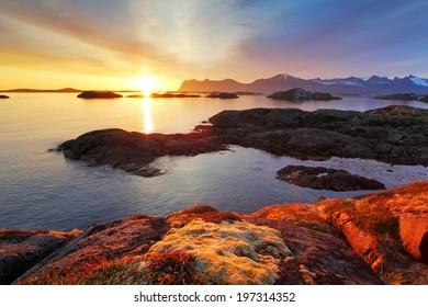 Ocean coast nice sunset in Norway - Senja