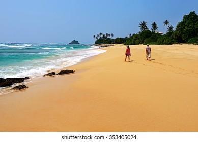 Ocean coast of Sri Lanka in the tropics