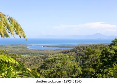Ocean coastline and The Daintree River from Mt Alexandra Lookout in Tropical North Queensland, Australia