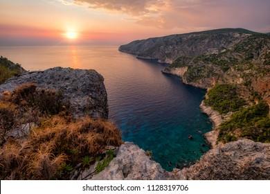 Ocean coastline landscape view at sunset, Zakynthos island, Greece, Europe