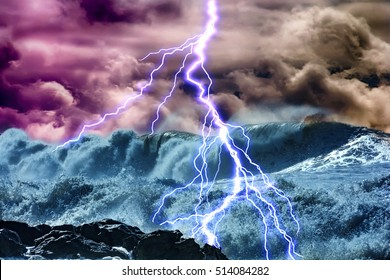 the ocean, comes nearer a thunderstorm with rain and lightning on background