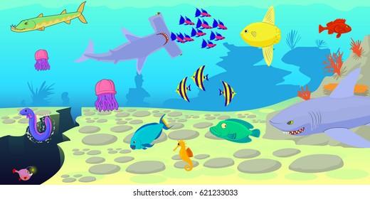 Ocean fish scene horizontal banner concept. Cartoon illustration of ocean fish scene  horizontal banner for web