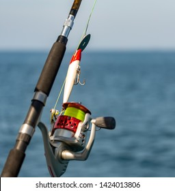 Ocean fishing from sailing yacht in Indian ocean, rod and reel
