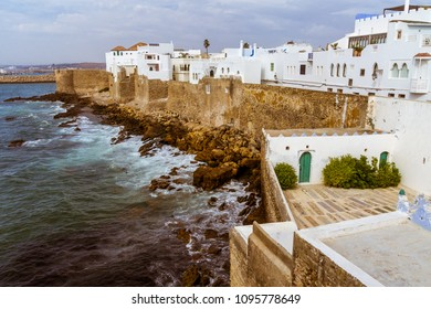 Ocean front of the ancient medina of Asilah, North of Morocco