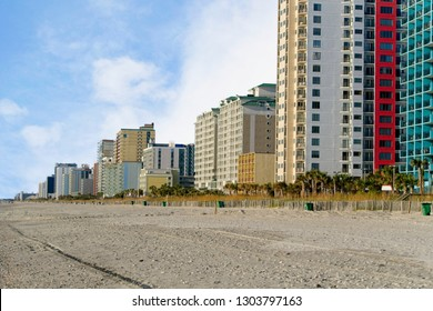 Ocean Front View of skyline of Myrtle Beach, South Carolina