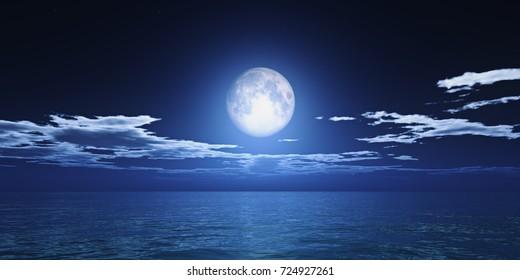ocean full moon clouds