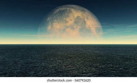 ocean and full moon day