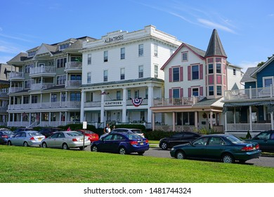 OCEAN GROVE, NJ -10 AUG 2019- View of Ocean Grove, a town on the New Jersey Shore, founded in 1869 as a Methodist Camp Meeting ground, known for its historic Victorian houses.