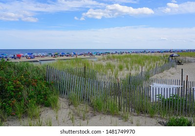 OCEAN GROVE, NJ -10 AUG 2019- View of the beach in Ocean Grove, a town on the New Jersey Shore, known for its historic Victorian houses.