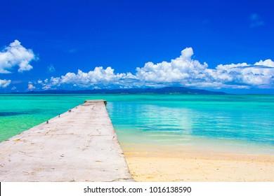 Ocean in Ishigaki island, Okinawa Japan. The beach is beautiful and clear.