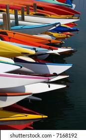 Ocean kayaks in storage racks; Mission Bay; San Diego, California